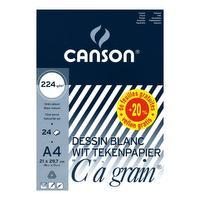 """Papier à dessin blanc A4 """"C"""" à Grain, 224g – 20+4 feuilles gratis"""