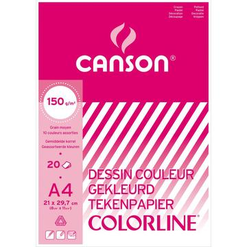 Papier à dessin couleur A4 colorline, 150g - 10 couleurs assorties