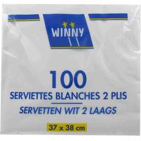 100 witte servietten 2 lagen 37 x 38 cm