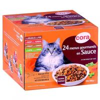Fijnproevers menu's met saus voor volwassen katten